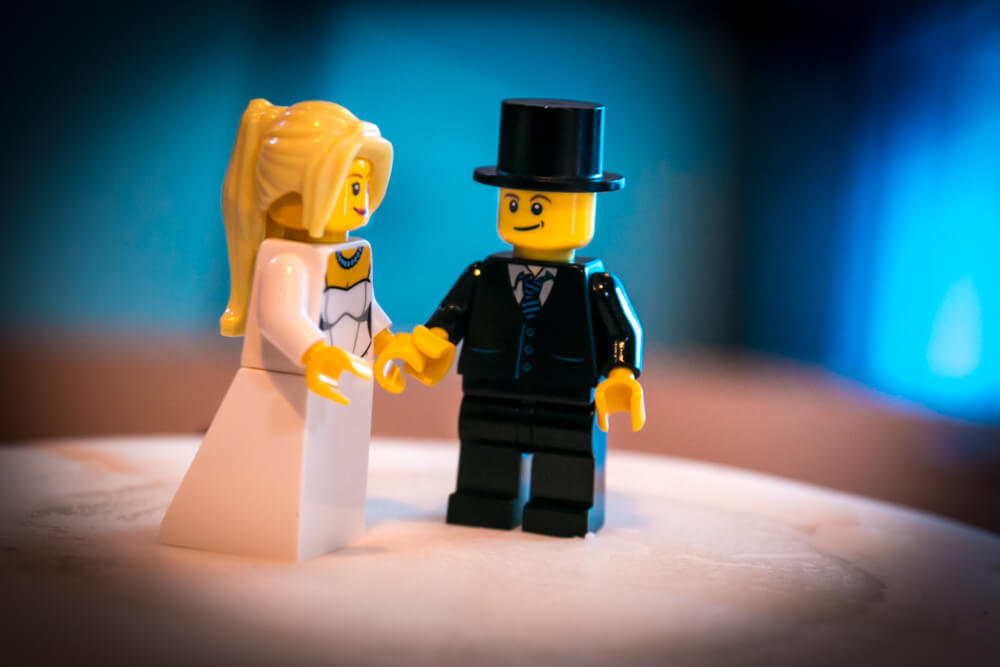 Lego Couple on a Cake